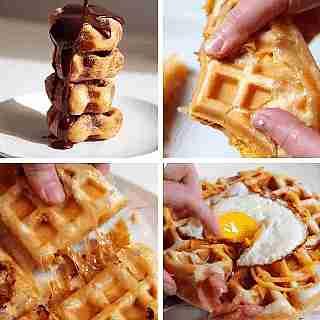 Waffles con miel