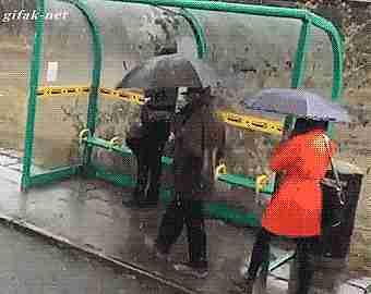 carro mojando mujeres en parada de autobús