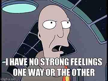 """personaje con texto """"No tengo sentimientos fuertes en ningún sentido"""""""