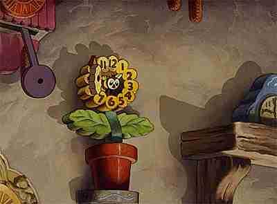 Reloj cucú en una flor