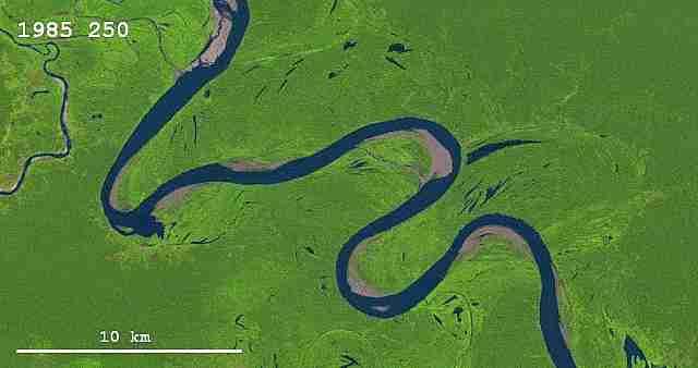 Cambio de curso  de un río